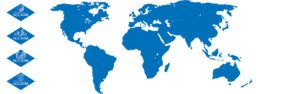 World Map theme blue with NCCAOM certification logos