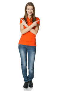 Woman in full length pointing in different directions, isolated on white background