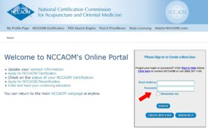 NCCAOM online portal log-in preview
