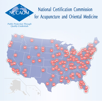 NCCAOM map of Veterans Health Administration locations with acupuncture.
