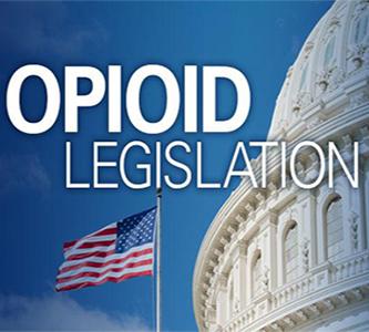 Opioid legislation banner: U.S. Capitol and American flag.