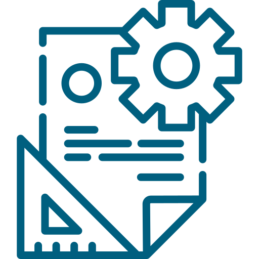 Document processing logo (document with a rotating gear).
