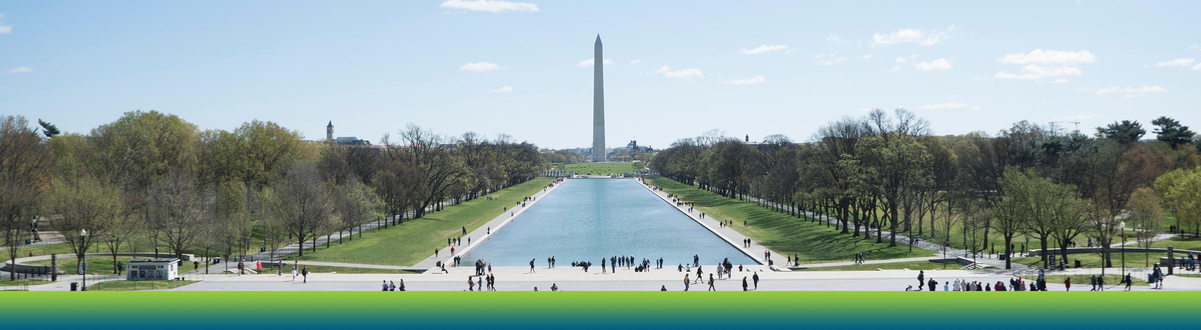 National Mall, reflecting pool, and Washington Monument.