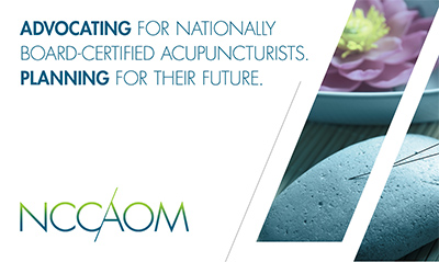 NCCAOM tag line and acupuncture needle image.
