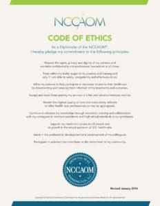 2019 NCCAOM Code of Ethics