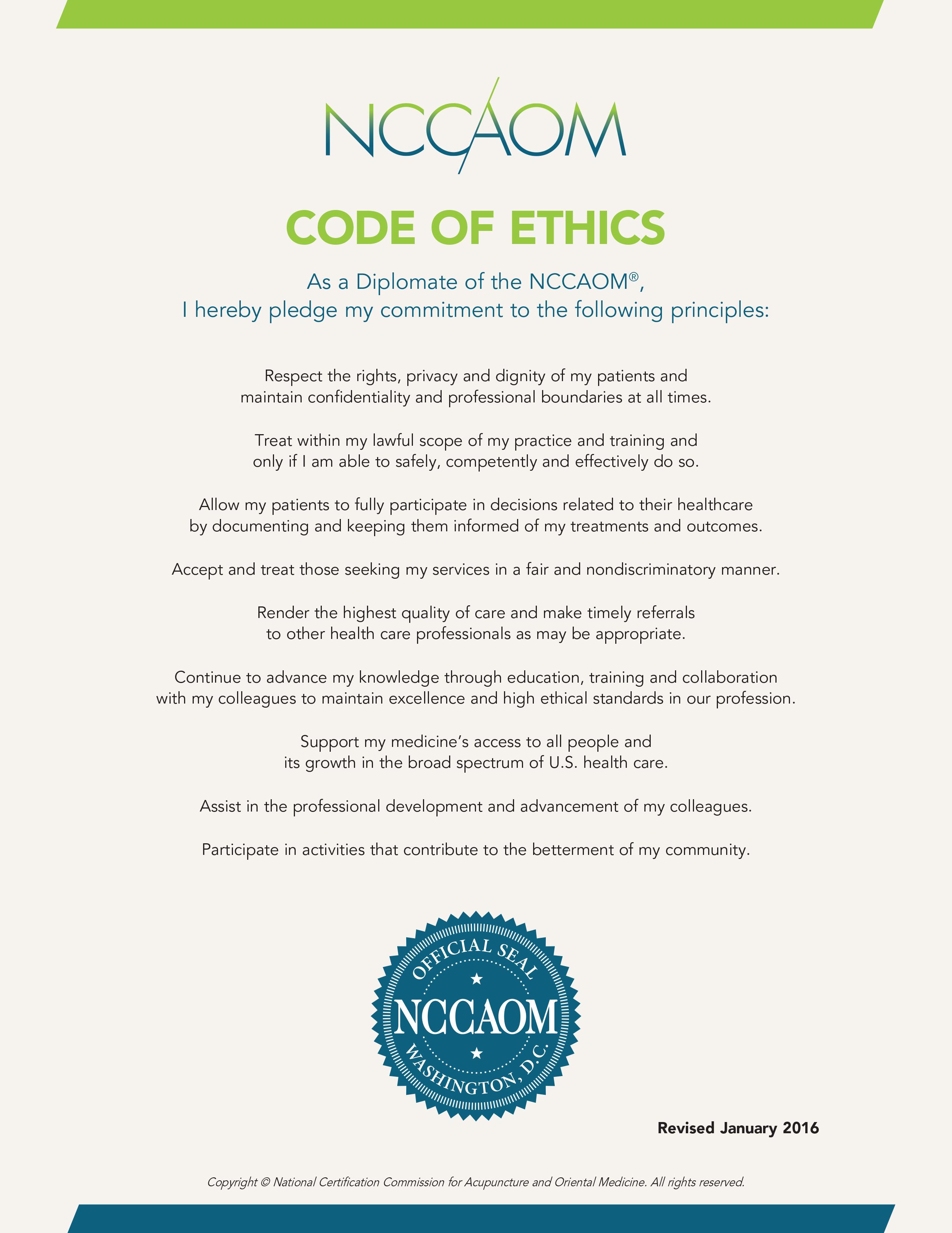 Code of Ethics (2016)