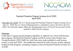 NCCAOM-ASA CARES 3.5 Summary (PPP Increase Act) April 2020