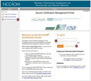 NCCAOM Portal Log-in screen